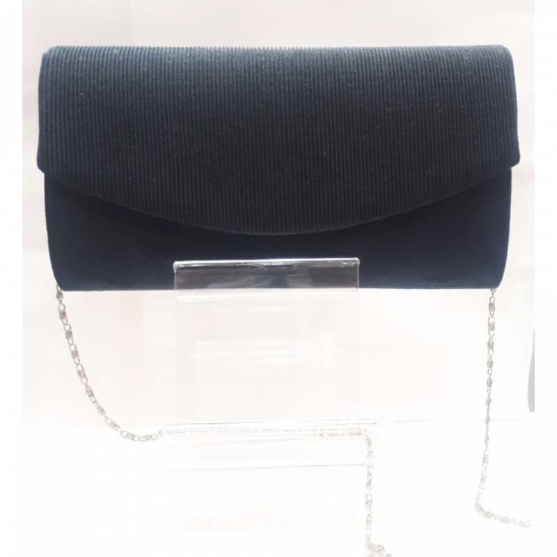 Suede μπλε σκούρο τσαντάκι με ασημί αλυσιδάκι