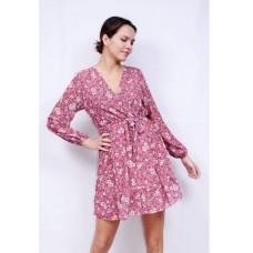 Φλοράλ φόρεμα ροζ & δικό του ζωνάκι ( onesize )