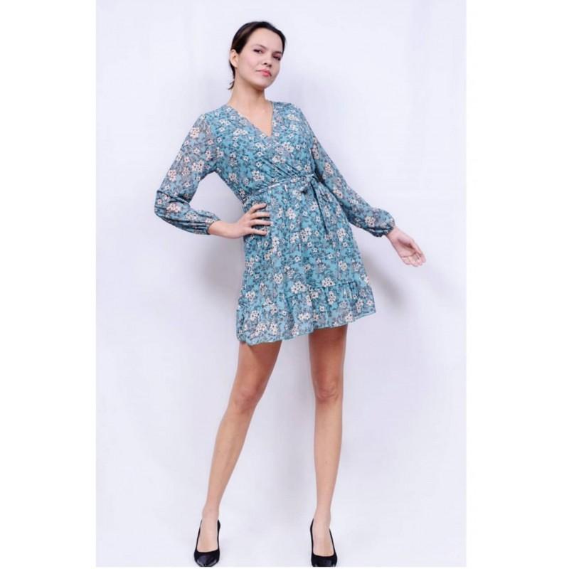 Φλοράλ φόρεμα βεραμάν & δικό του ζωνάκι (onesize)