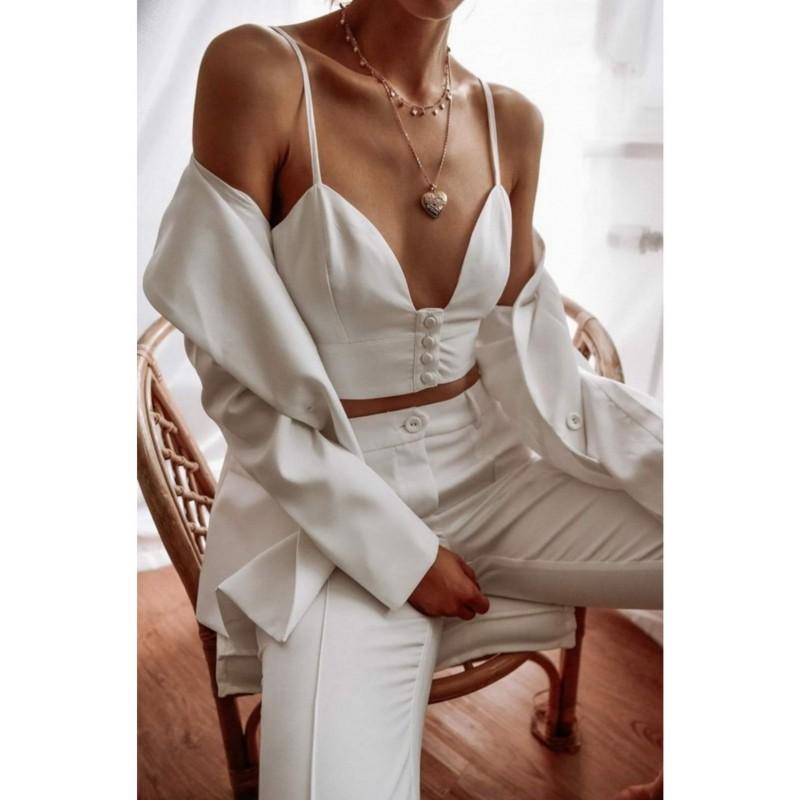 Σετ λευκό σακάκι & παντελόνι & τοπ ( 3 κομμάτια )
