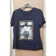 Μπλε T-shirt με στάμπα