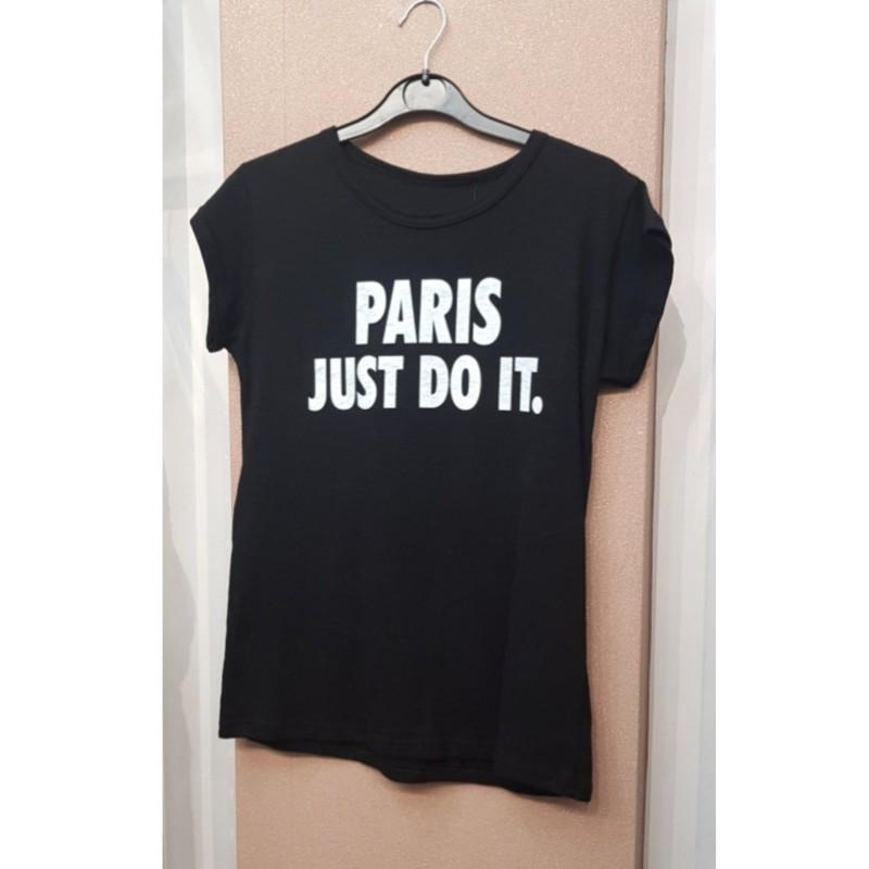 Μαύρο T-shirt με λευκά γράμματα ( onesize )